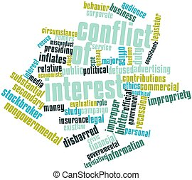 Abstract word cloud for Conflict of interest with related tags and terms