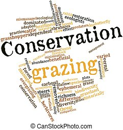 Conservation grazing - Abstract word cloud for Conservation...