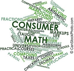 Consumer math - Abstract word cloud for Consumer math with...