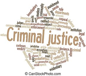 Abstract word cloud for criminal justice with related tags