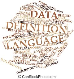 Abstract word cloud for Data definition language with related tags and terms