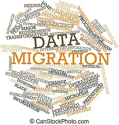 Data migration - Abstract word cloud for Data migration with...