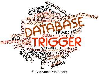 Database trigger - Abstract word cloud for Database trigger...