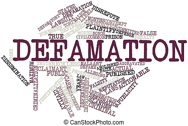Abstract word cloud for Defamation with related tags and terms