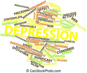 Depression - Abstract word cloud for Depression with related...