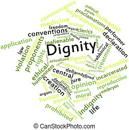 Abstract word cloud for Dignity with related tags and terms