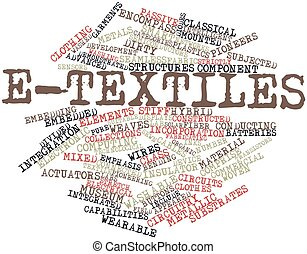 E-textiles - Abstract word cloud for E-textiles with related...