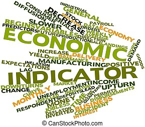 Abstract word cloud for Economic indicator with related tags and terms
