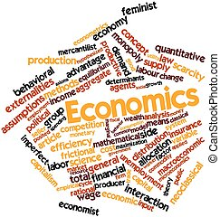 Abstract word cloud for Economics with related tags and terms