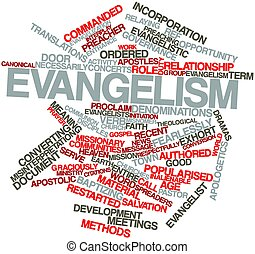 Evangelism - Abstract word cloud for Evangelism with related...