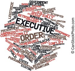 Abstract word cloud for Executive order with related tags and terms