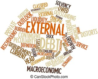 External debt - Abstract word cloud for External debt with...