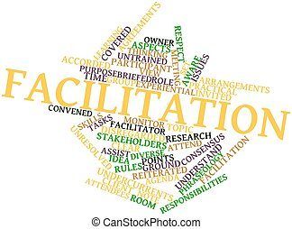Abstract word cloud for Facilitation with related tags and terms