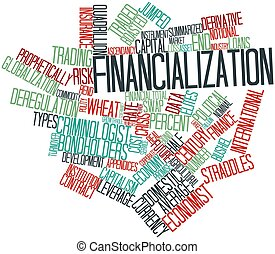 Abstract word cloud for Financialization with related tags and terms