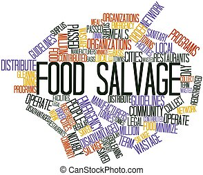 Food salvage - Abstract word cloud for Food salvage with...