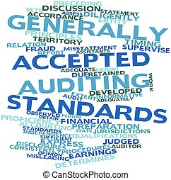 Abstract word cloud for Generally Accepted Auditing Standards with related tags and terms