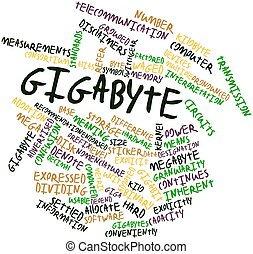 Gigabyte - Abstract word cloud for Gigabyte with related...
