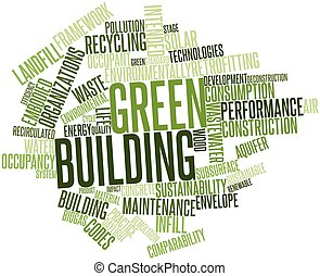 Green building - Abstract word cloud for Green building with...