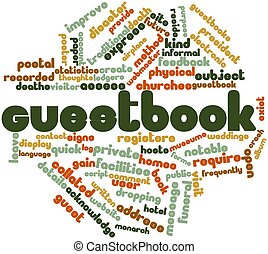 Abstract word cloud for Guestbook with related tags and terms