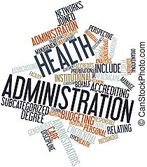 Abstract word cloud for Health administration with related tags and terms