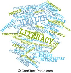 Abstract word cloud for Health literacy with related tags and terms