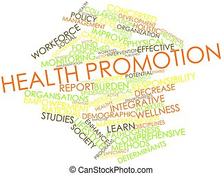 Abstract word cloud for Health promotion with related tags and terms