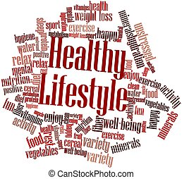 Abstract word cloud for Healthy Lifestyle with related tags and terms