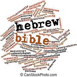 Abstract word cloud for Hebrew Bible with related tags and terms