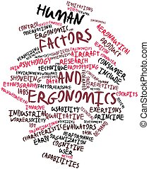 Abstract word cloud for Human factors and ergonomics with related tags and terms