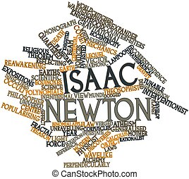 Isaac Newton - Abstract word cloud for Isaac Newton with...