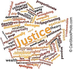 Abstract word cloud for Justice with related tags and terms
