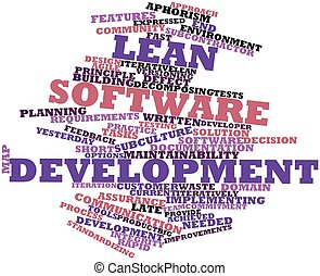 Abstract word cloud for Lean software development with related tags and terms