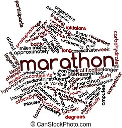 Marathon - Abstract word cloud for Marathon with related...