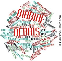 Marine debris - Abstract word cloud for Marine debris with...