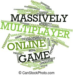 Massively multiplayer online game - Abstract word cloud for...