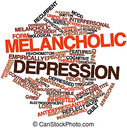 Abstract word cloud for Melancholic depression with related tags and terms