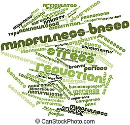 Mindfulness-based stress reduction - Abstract word cloud for...