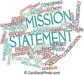 Abstract word cloud for Mission statement with related tags and terms