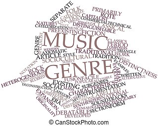 Abstract word cloud for Music genre with related tags and terms