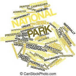 National park - Abstract word cloud for National park with...