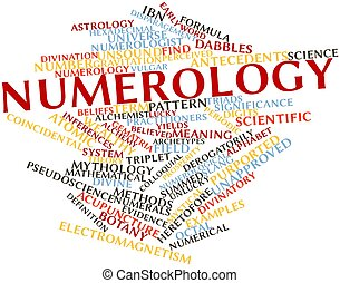 Numerology - Abstract word cloud for Numerology with related...
