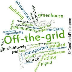 Off-the-grid - Abstract word cloud for Off-the-grid with...