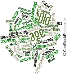 Old age - Abstract word cloud for Old age with related tags...