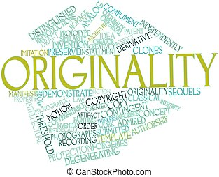 Abstract word cloud for Originality with related tags and terms