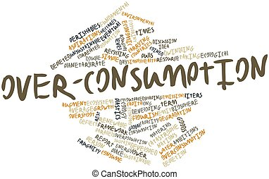 Over-consumption - Abstract word cloud for Over-consumption...