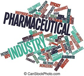 Abstract word cloud for Pharmaceutical industry with related tags and terms