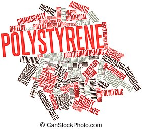 Abstract word cloud for Polystyrene with related tags and terms