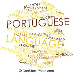Portuguese language - Abstract word cloud for Portuguese...
