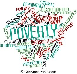 Abstract word cloud for Poverty with related tags and terms