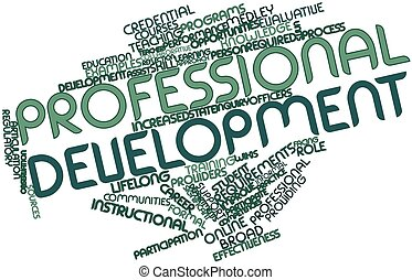 Abstract word cloud for Professional development with related tags and terms